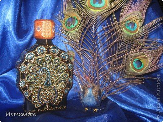 Декор предметов Роспись: Расписной павлин Бутылки стеклянные, Краска. Фото 1