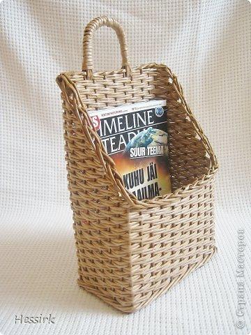 Поделка, изделие Плетение: Корзина для газет Бумага газетная, Трубочки бумажные. Фото 1