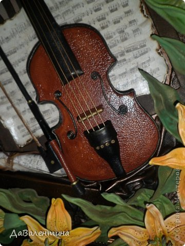 "Мастер-класс Коллаж: Картина из кожи.""Скрипка и Лилии"". Мастер-класс. Часть 2. Кожа. Фото 1"