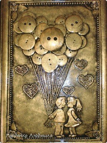 """Картина, панно, рисунок, Мастер-класс Ассамбляж: МК картины из пуговиц и бисера """"Я подарю тебе любовь..."""" Бисер, Пайетки, Пуговицы, Тесто соленое. Фото 1"""