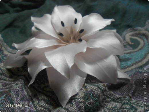 Мастер-класс Цумами Канзаши: МК лилии Ленты, Ткань. Фото 25