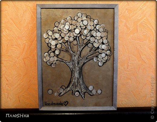 """Картина, панно, рисунок Аппликация, Аппликация из скрученных жгутиков: """"Денежный дуб"""" в подарок другу Краска, Металл, Салфетки День рождения. Фото 1"""
