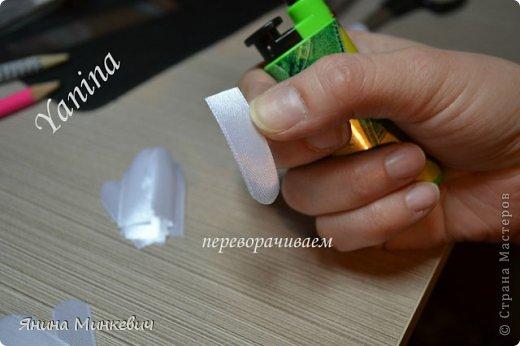 Мастер-класс Цумами Канзаши: Мк цинии Ленты. Фото 9