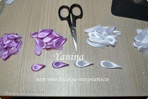 Мастер-класс Цумами Канзаши: Мк цинии Ленты. Фото 12