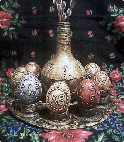 Мастер-класс, Поделка, изделие: Кто о чём,а я всё про яйца... Гуашь, Картон, Клей, Салфетки Пасха. Фото 1