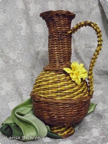 Мастер-класс Плетение: Кувшин руками чайника Бумага газетная, Трубочки бумажные. Фото 25