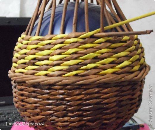 Мастер-класс Плетение: Кувшин руками чайника Бумага газетная, Трубочки бумажные. Фото 11