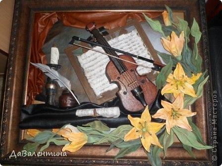 "Мастер-класс Коллаж: Картина из кожи ""Скрипка и Лилии"". Мастер -класс часть 3. Кожа. Фото 11"