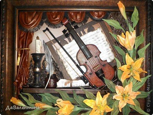 "Мастер-класс Коллаж: Картина из кожи ""Скрипка и Лилии"". Мастер -класс часть 3. Кожа. Фото 54"