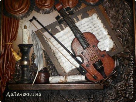 "Мастер-класс Коллаж: Картина из кожи ""Скрипка и Лилии"". Мастер -класс часть 3. Кожа. Фото 29"