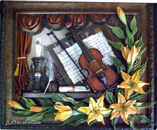 "Мастер-класс Коллаж: Картина из кожи ""Скрипка и Лилии"". Мастер -класс часть 3. Кожа. Фото 2"