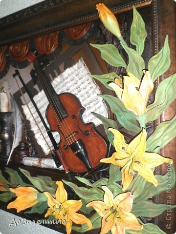 "Мастер-класс Коллаж: Картина из кожи ""Скрипка и Лилии"". Мастер -класс часть 3. Кожа. Фото 1"
