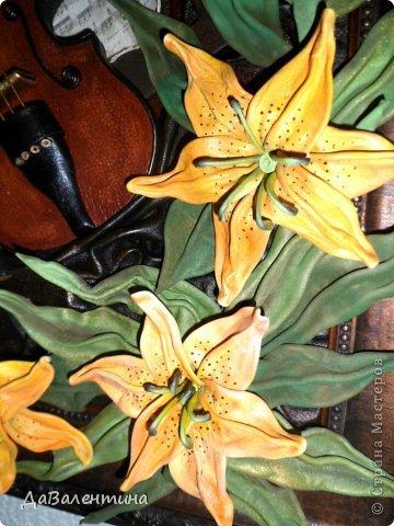 "Мастер-класс Коллаж: Картина из кожи ""Скрипка и Лилии"". Мастер -класс часть 3. Кожа. Фото 55"