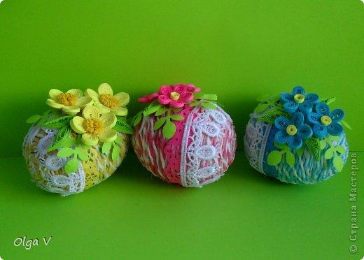 Декор предметов, Мастер-класс Декупаж, Квиллинг: Мой декор пасхальных яиц. Мини МК. Бумажные полосы, Картон, Кружево, Салфетки, Скорлупа яичная Пасха. Фото 9