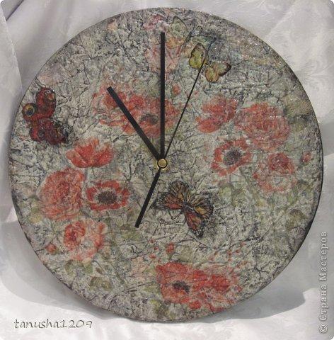 Мастер-класс Декупаж: Мини мастер класс по имитации каменных часов. Бумага журнальная, Дерево, Салфетки. Фото 1