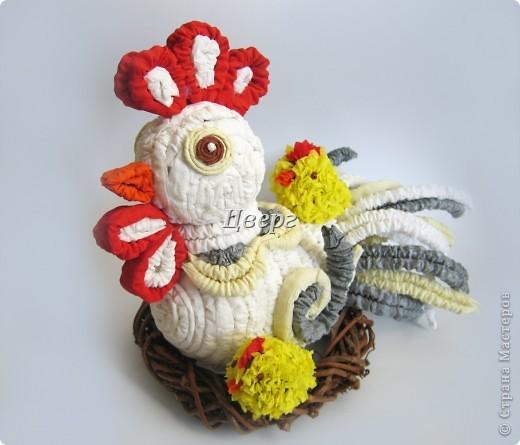 Мастер-класс Гофротрубочки, Торцевание: Петушок с цыплятами. Бумага гофрированная Отдых, Пасха. Фото 1