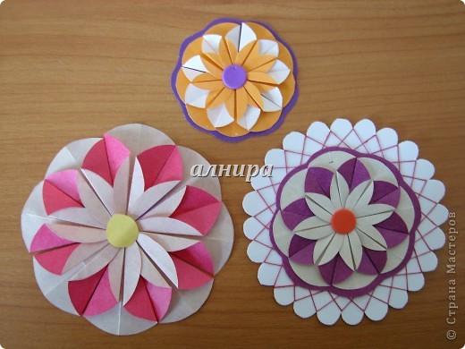 Мастер-класс,  Оригами из кругов, : МК. Цветок из кругов для открытки. Бумага День рождения, . Фото 1