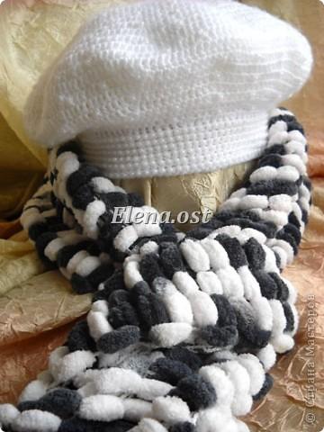Гардероб Вязание, Вязание крючком: Вязаный берет с бисером Белый снег.