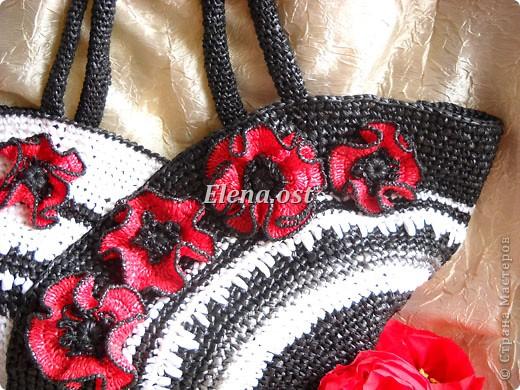 Вязание, Вязание крючком: Вязаная сумка из полиэтиленовых пакетов.