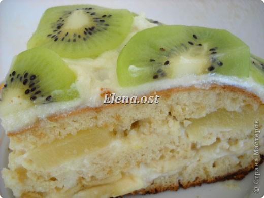 Торт с бананами и ананасами крем