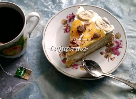 Доброго времени суток! Предлагаю Вам мастер-класс по приготовлению торта со сливочным кремом и фруктами. Для приготовления необходимо: Для теста: - яйцо (6 шт) - сахар (1 ст) - мука (1 ст) - цедра половинки апельсина (лимона) или ванильный сахар для аромата - разрыхлитель-сода (1/2 ч.л.) Для суфле: - желатин (15 г) - сливки (500 г) - сахар (1/2 ст) - фрукты (в моем случае консервированные персики и бананы) - ванильный сахар. Фото 1
