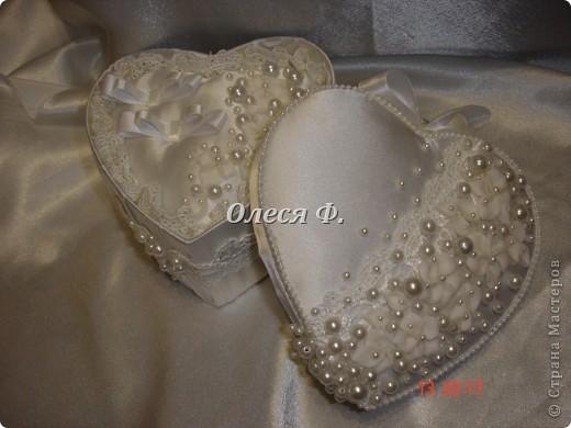 Декор предметов Лепка, Шитьё: Свадебная шкатулочка для колец Бусинки, Пластика, Ткань Свадьба. Фото 1