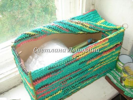 Готовая пряжа для вязания из полиэтиленовых пакетов. крючком: Вязаная.