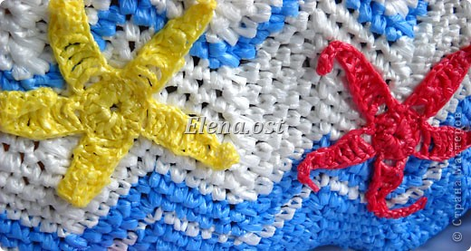 ...Вязание, Вязание крючком: Вязаная сумка из полиэтиленовых пакетов.