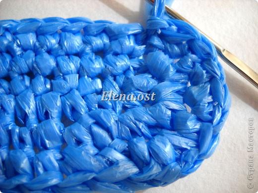 """...крючком: Вязаная сумка из полиэтиленовых пакетов  """"Морская """" Полиэтилен."""