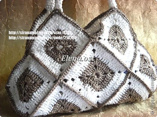 ...Мастер-класс Вязание, Вязание крючком: Вязаная сумка из квадратов...