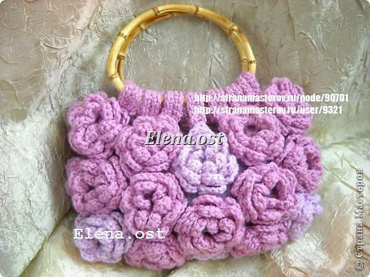 Мастер-класс Вязание, Вязание крючком: Сумка вязаная 'Розовые розы.