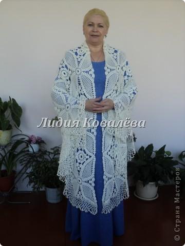 Гардероб Вязание крючком: Белая шаль+схема Пряжа. Фото 1