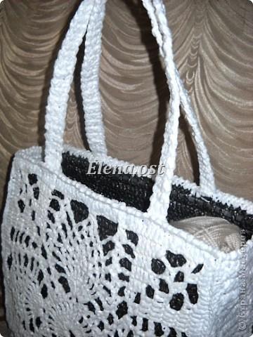 """Вязаная сумка из полиэтилена  """"Белый ананас """" из рубрики Вязаные сумки..."""