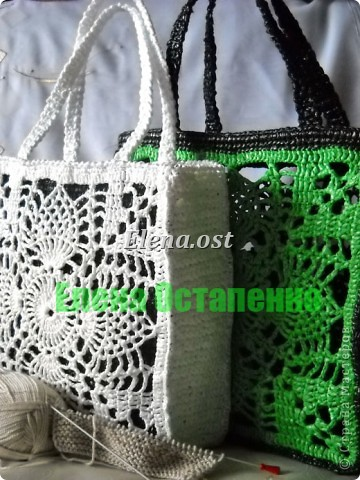 """Гардероб, Мастер-класс Вязание, Вязание крючком: Вязаная сумка из полиэтилена """"Зеленый ананас"""" Полиэтилен. Фото 2"""