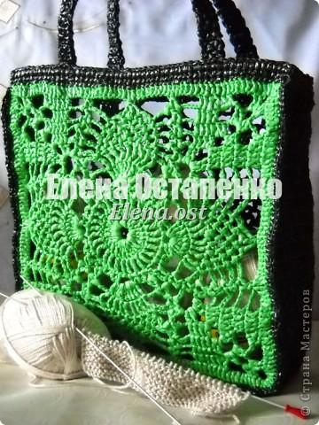 """Гардероб, Мастер-класс Вязание, Вязание крючком: Вязаная сумка из полиэтилена """"Зеленый ананас"""" Полиэтилен. Фото 1"""