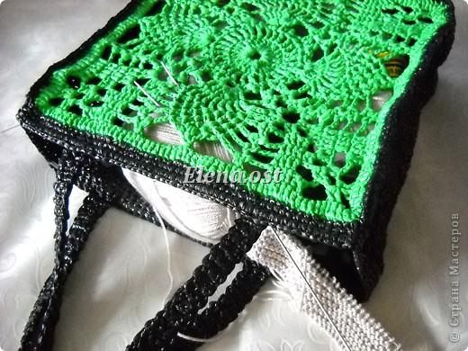 ...Мастер-класс Вязание, Вязание крючком: Вязаная сумка из полиэтилена...