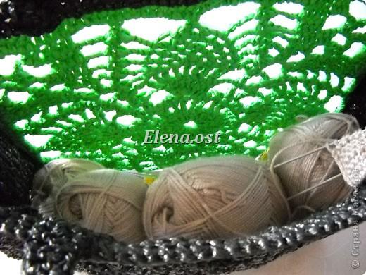 """Гардероб, Мастер-класс Вязание, Вязание крючком: Вязаная сумка из полиэтилена """"Зеленый ананас"""" Полиэтилен. Фото 4"""