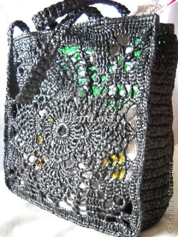 """Гардероб, Мастер-класс Вязание, Вязание крючком: Вязаная сумка из полиэтилена """"Зеленый ананас"""" Полиэтилен. Фото 5"""