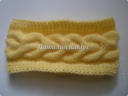 ...Вязание спицами: Повязки на голову с косой Нитки, Пряжа.  Фото 4.