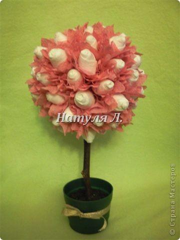 Внеклассная работа, Поделка, изделие Бумагопластика: Розовые деревья девочки Кати Салфетки. Фото 1