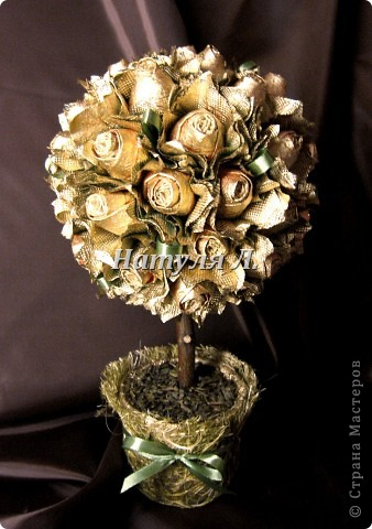 Поделка, изделие Бумагопластика: Золотые розы (или реанимация) Гипс, Дерево, Клей, Ленты, Салфетки. Фото 1