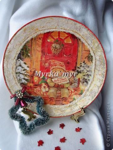 Мастер-класс, Поделка, изделие Декупаж: Новогодняя тарелка. Обещанный МК. Краска, Салфетки Новый год. Фото 1