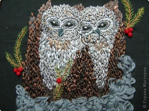 Картина, панно, Мастер-класс Вышивка: Совушки Бусинки, Ленты, Нитки, Ткань. Фото 1