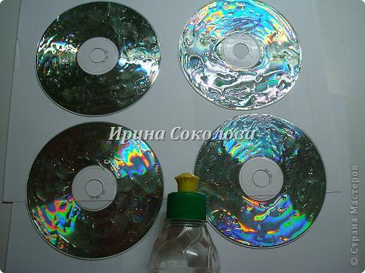 Декор предметов, Мастер-класс Декупаж: Подставки под чашки из CD- дисков Диски компьютерные, Картон, Клей, Краска, Салфетки 23 февраля, 8 марта. Фото 3