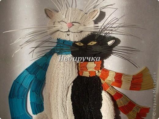 Картина, панно Бумагопластика, Квиллинг: Влюбленные коты Бумага, Бумажные полосы Отдых. Фото 1