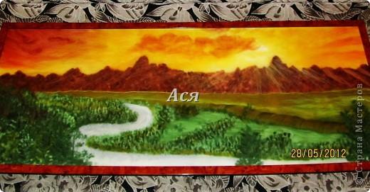 """Картина, панно, Мастер-класс: Картина из шерсти """"Долина на закате"""" Шерсть. Фото 1"""