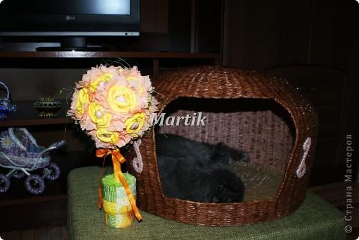Поделка, изделие Плетение: Домик для кота Бумага. Фото 2