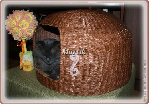 Поделка, изделие Плетение: Домик для кота Бумага. Фото 1
