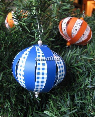 Мастер-класс, Поделка, изделие: Новогодние шары из бумажных полосок +МК Бумага Новый год. Фото 1