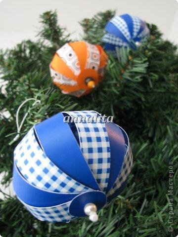 Мастер-класс, Поделка, изделие: Новогодние шары из бумажных полосок +МК Бумага Новый год. Фото 7